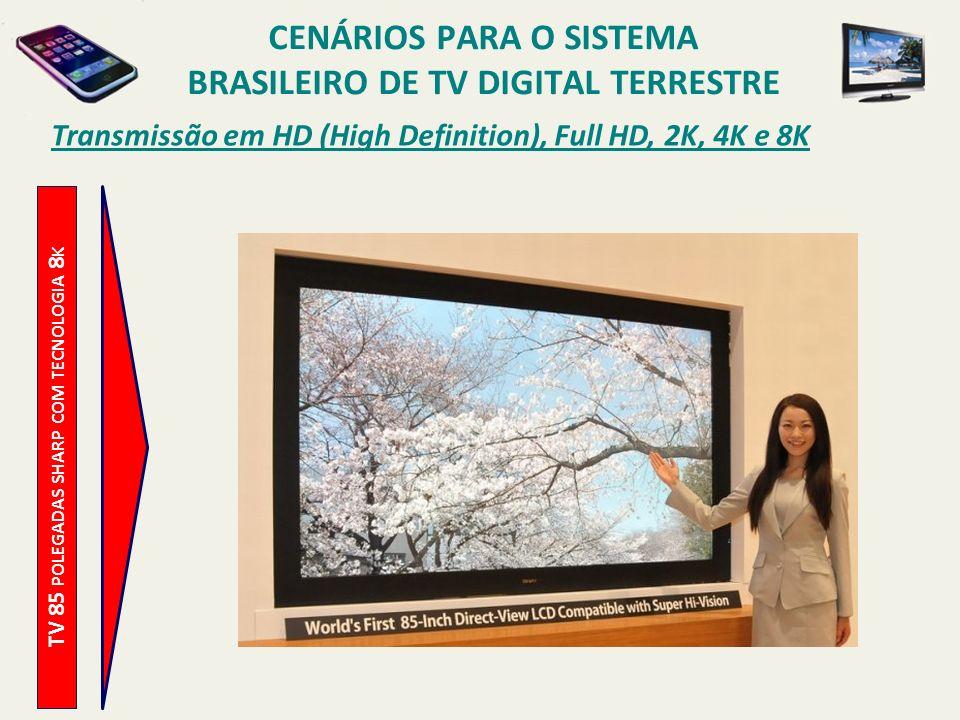 TV 85 POLEGADAS SHARP COM TECNOLOGIA 8 K Transmissão em HD (High Definition), Full HD, 2K, 4K e 8K CENÁRIOS PARA O SISTEMA BRASILEIRO DE TV DIGITAL TERRESTRE