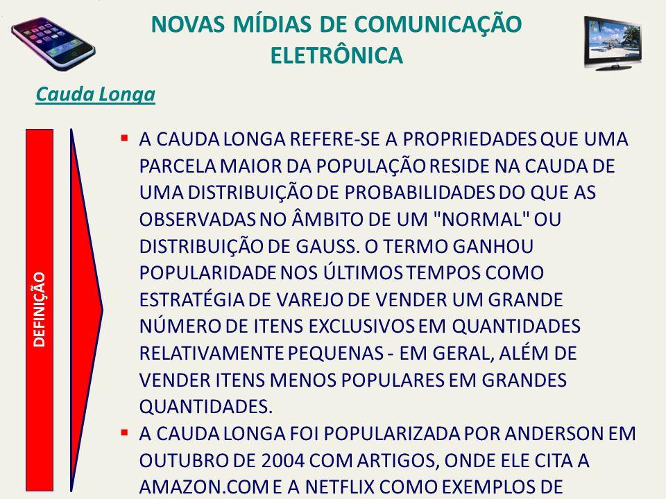 DEFINIÇÃO Cauda Longa A CAUDA LONGA REFERE-SE A PROPRIEDADES QUE UMA PARCELA MAIOR DA POPULAÇÃO RESIDE NA CAUDA DE UMA DISTRIBUIÇÃO DE PROBABILIDADES DO QUE AS OBSERVADAS NO ÂMBITO DE UM NORMAL OU DISTRIBUIÇÃO DE GAUSS.