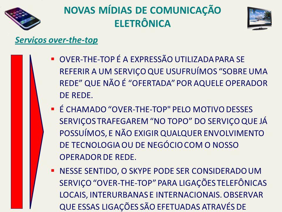 Serviços over-the-top OVER-THE-TOP É A EXPRESSÃO UTILIZADA PARA SE REFERIR A UM SERVIÇO QUE USUFRUÍMOS SOBRE UMA REDE QUE NÃO É OFERTADA POR AQUELE OPERADOR DE REDE.