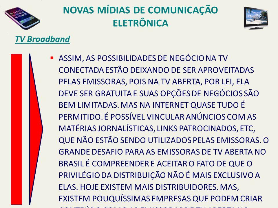 TV Broadband ASSIM, AS POSSIBILIDADES DE NEGÓCIO NA TV CONECTADA ESTÃO DEIXANDO DE SER APROVEITADAS PELAS EMISSORAS, POIS NA TV ABERTA, POR LEI, ELA DEVE SER GRATUITA E SUAS OPÇÕES DE NEGÓCIOS SÃO BEM LIMITADAS.