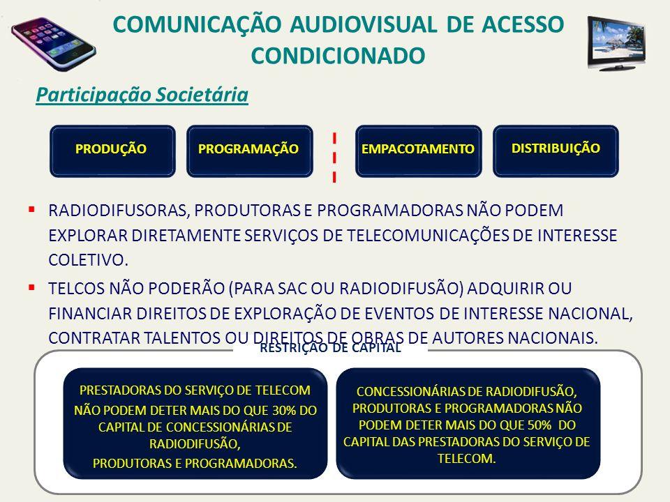 Participação Societária COMUNICAÇÃO AUDIOVISUAL DE ACESSO CONDICIONADO PRODUÇÃO PROGRAMAÇÃOEMPACOTAMENTO DISTRIBUIÇÃO CONCESSIONÁRIAS DE RADIODIFUSÃO, PRODUTORAS E PROGRAMADORAS NÃO PODEM DETER MAIS DO QUE 50% DO CAPITAL DAS PRESTADORAS DO SERVIÇO DE TELECOM.