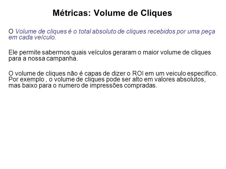 Métricas: Volume de Cliques O Volume de cliques é o total absoluto de cliques recebidos por uma peça em cada veículo.
