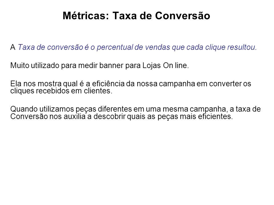 Métricas: Taxa de Conversão A Taxa de conversão é o percentual de vendas que cada clique resultou.