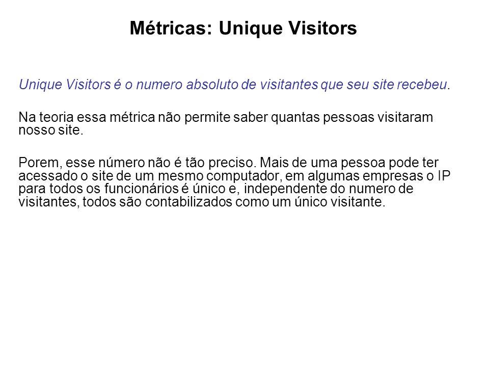 Métricas: Unique Visitors Unique Visitors é o numero absoluto de visitantes que seu site recebeu.