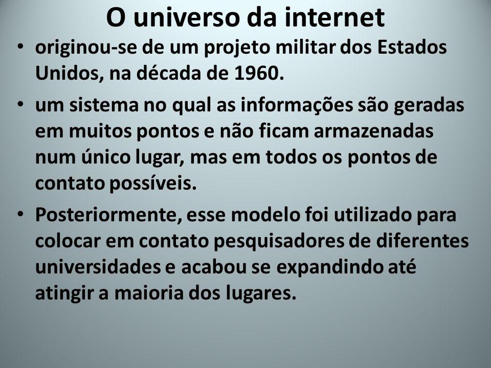O universo da internet originou-se de um projeto militar dos Estados Unidos, na década de 1960. um sistema no qual as informações são geradas em muito