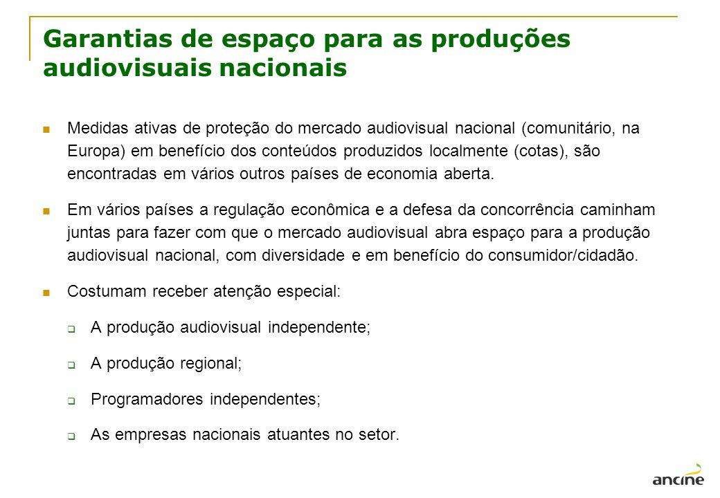 Garantias de espaço para as produções audiovisuais nacionais Medidas ativas de proteção do mercado audiovisual nacional (comunitário, na Europa) em be