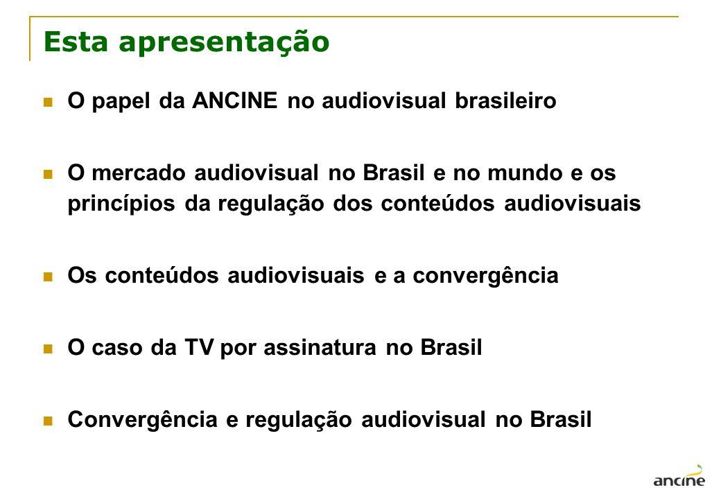 Esta apresentação O papel da ANCINE no audiovisual brasileiro O mercado audiovisual no Brasil e no mundo e os princípios da regulação dos conteúdos au
