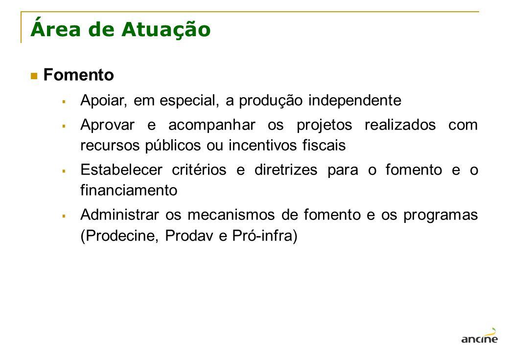 Área de Atuação Fomento Apoiar, em especial, a produção independente Aprovar e acompanhar os projetos realizados com recursos públicos ou incentivos f