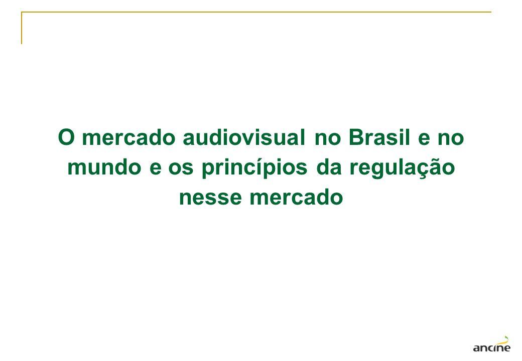 Mercado audiovisual mundial x Mercado audiovisual brasileiro (2005) Mundo: 342 bilhões em venda de serviços baseados em conteúdos audiovisuais no ano de 2005 valor é quase o dobro das vendas mundiais de eletrônicos de consumo de áudio e vídeo; valor 30% maior que vendas mundiais de servidores, computadores e periféricos; apresenta crescimento anual médio de 5,6% (2000 a 2005) Brasil: equivalente 5,46 bilhões de faturamento em 2005 Faturamento total representa menos de 20% do faturamento da maior empresa internacional em vendas de produtos audiovisuais (Time Warner) Dados: IDATE e ANCINE