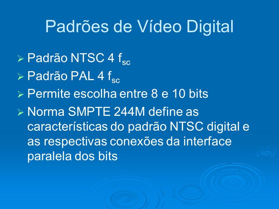 Padrões de Vídeo Digital Padrão NTSC 4 f sc Padrão PAL 4 f sc Permite escolha entre 8 e 10 bits Norma SMPTE 244M define as características do padrão NTSC digital e as respectivas conexões da interface paralela dos bits