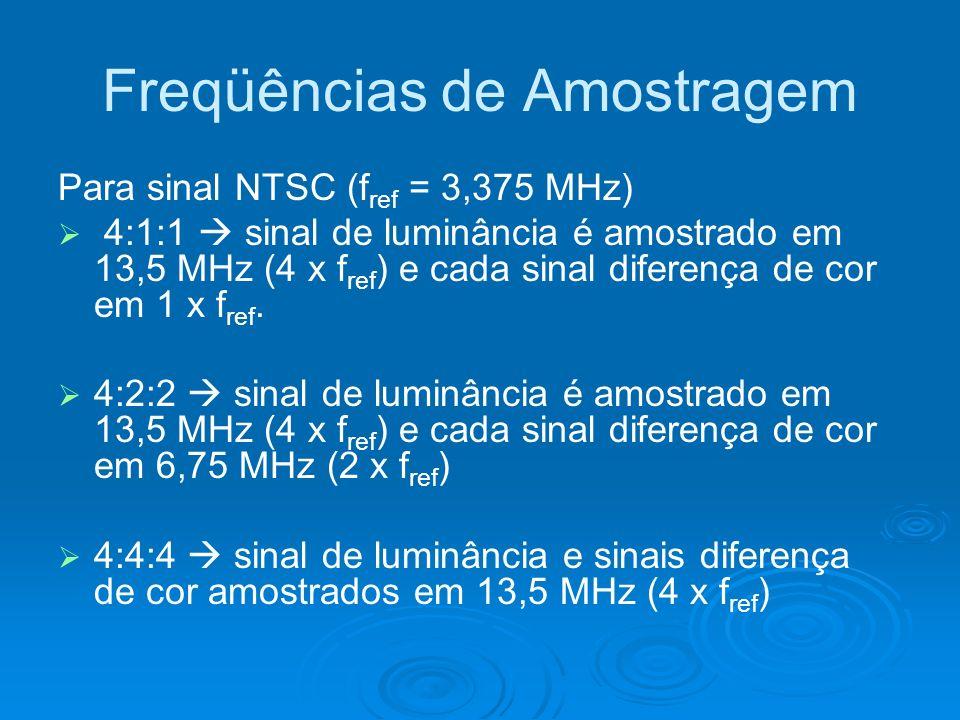 Freqüências de Amostragem Para sinal NTSC (f ref = 3,375 MHz) 4:1:1 sinal de luminância é amostrado em 13,5 MHz (4 x f ref ) e cada sinal diferença de cor em 1 x f ref.