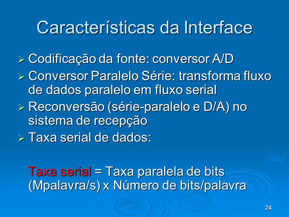 24 Características da Interface Codificação da fonte: conversor A/D Codificação da fonte: conversor A/D Conversor Paralelo Série: transforma fluxo de dados paralelo em fluxo serial Conversor Paralelo Série: transforma fluxo de dados paralelo em fluxo serial Reconversão (série-paralelo e D/A) no sistema de recepção Reconversão (série-paralelo e D/A) no sistema de recepção Taxa serial de dados: Taxa serial de dados: Taxa serial = Taxa paralela de bits (Mpalavra/s) x Número de bits/palavra Taxa serial = Taxa paralela de bits (Mpalavra/s) x Número de bits/palavra