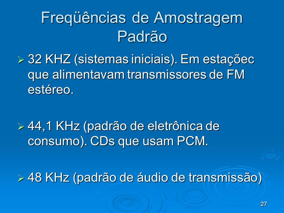 27 Freqüências de Amostragem Padrão 32 KHZ (sistemas iniciais). Em estaçõec que alimentavam transmissores de FM estéreo. 32 KHZ (sistemas iniciais). E