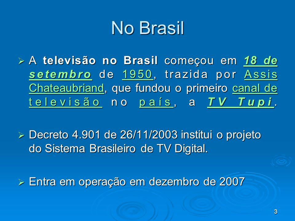 3 No Brasil A televisão no Brasil começou em 18 de setembro de 1950, trazida por Assis Chateaubriand, que fundou o primeiro canal de televisão no país, a TV Tupi.