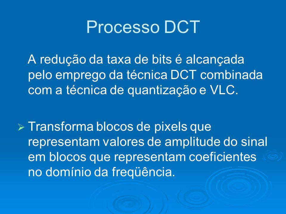 Processo DCT A redução da taxa de bits é alcançada pelo emprego da técnica DCT combinada com a técnica de quantização e VLC. Transforma blocos de pixe