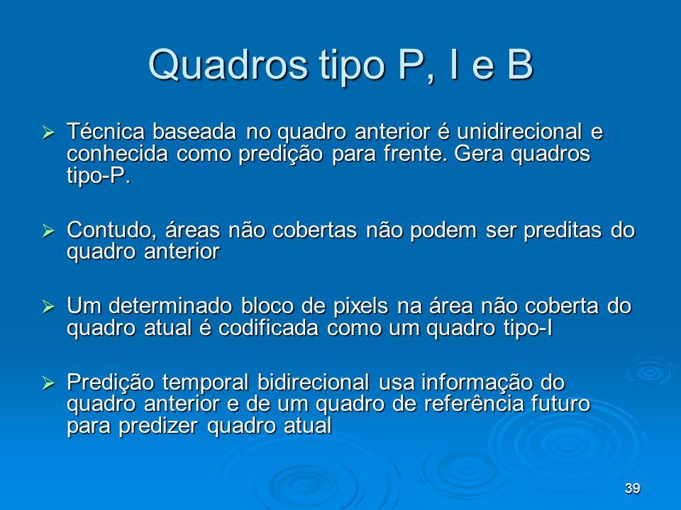 39 Quadros tipo P, I e B Técnica baseada no quadro anterior é unidirecional e conhecida como predição para frente. Gera quadros tipo-P. Técnica basead