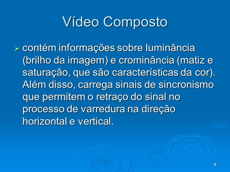 4 Vídeo Composto contém informações sobre luminância (brilho da imagem) e crominância (matiz e saturação, que são características da cor). Além disso,