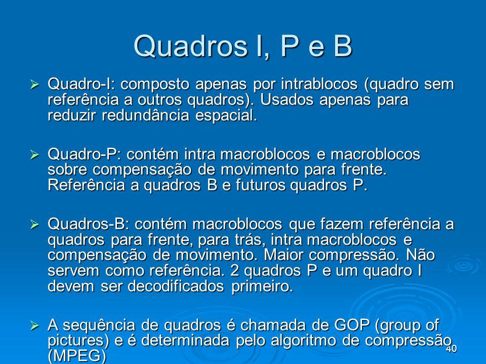 40 Quadros I, P e B Quadro-I: composto apenas por intrablocos (quadro sem referência a outros quadros). Usados apenas para reduzir redundância espacia