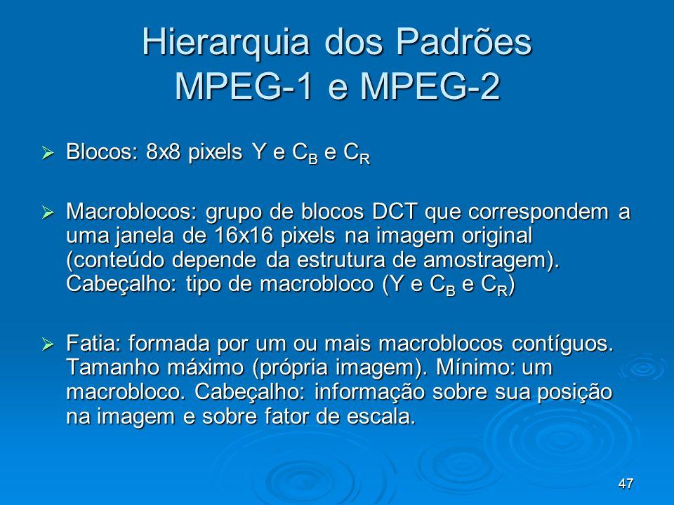 47 Hierarquia dos Padrões MPEG-1 e MPEG-2 Blocos: 8x8 pixels Y e C B e C R Blocos: 8x8 pixels Y e C B e C R Macroblocos: grupo de blocos DCT que correspondem a uma janela de 16x16 pixels na imagem original (conteúdo depende da estrutura de amostragem).