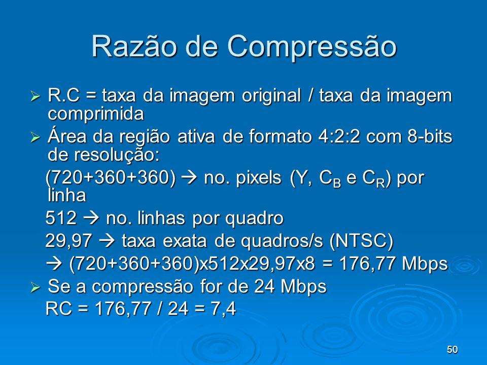 50 Razão de Compressão R.C = taxa da imagem original / taxa da imagem comprimida R.C = taxa da imagem original / taxa da imagem comprimida Área da reg