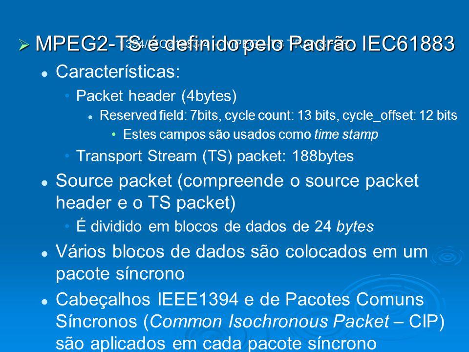 1394/IEC61883-4 – MPEG2-TS TRANSFER MPEG2-TS é definido pelo Padrão IEC61883 MPEG2-TS é definido pelo Padrão IEC61883 Características: Packet header (4bytes) Reserved field: 7bits, cycle count: 13 bits, cycle_offset: 12 bits Estes campos são usados como time stamp Transport Stream (TS) packet: 188bytes Source packet (compreende o source packet header e o TS packet) É dividido em blocos de dados de 24 bytes Vários blocos de dados são colocados em um pacote síncrono Cabeçalhos IEEE1394 e de Pacotes Comuns Síncronos (Common Isochronous Packet – CIP) são aplicados em cada pacote síncrono Os pacotes sincronos são transferidos Pacotes vazios (compostos somente por cabeçalhos CIP e 1394) são transferidos quando não há dados para serem transmitidos