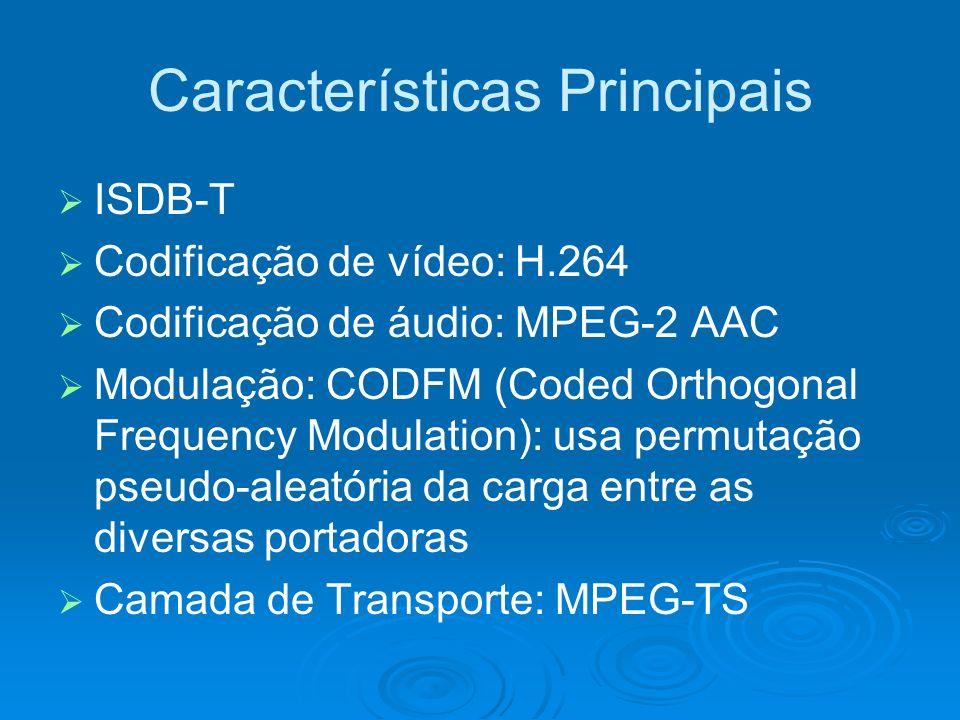 Características Principais ISDB-T Codificação de vídeo: H.264 Codificação de áudio: MPEG-2 AAC Modulação: CODFM (Coded Orthogonal Frequency Modulation): usa permutação pseudo-aleatória da carga entre as diversas portadoras Camada de Transporte: MPEG-TS