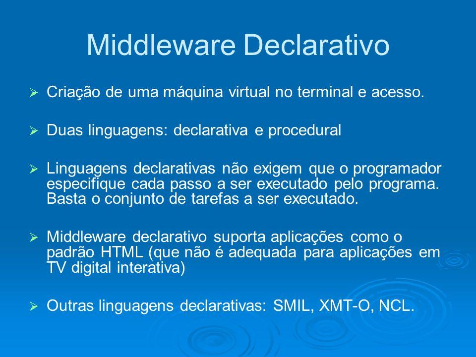 Middleware Declarativo Criação de uma máquina virtual no terminal e acesso. Duas linguagens: declarativa e procedural Linguagens declarativas não exig