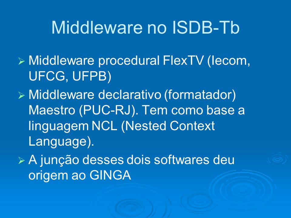 Middleware no ISDB-Tb Middleware procedural FlexTV (Iecom, UFCG, UFPB) Middleware declarativo (formatador) Maestro (PUC-RJ). Tem como base a linguagem