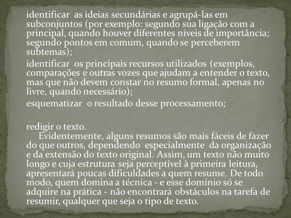 identificar as ideias secundárias e agrupá-las em subconjuntos (por exemplo: segundo sua ligação com a principal, quando houver diferentes níveis de i