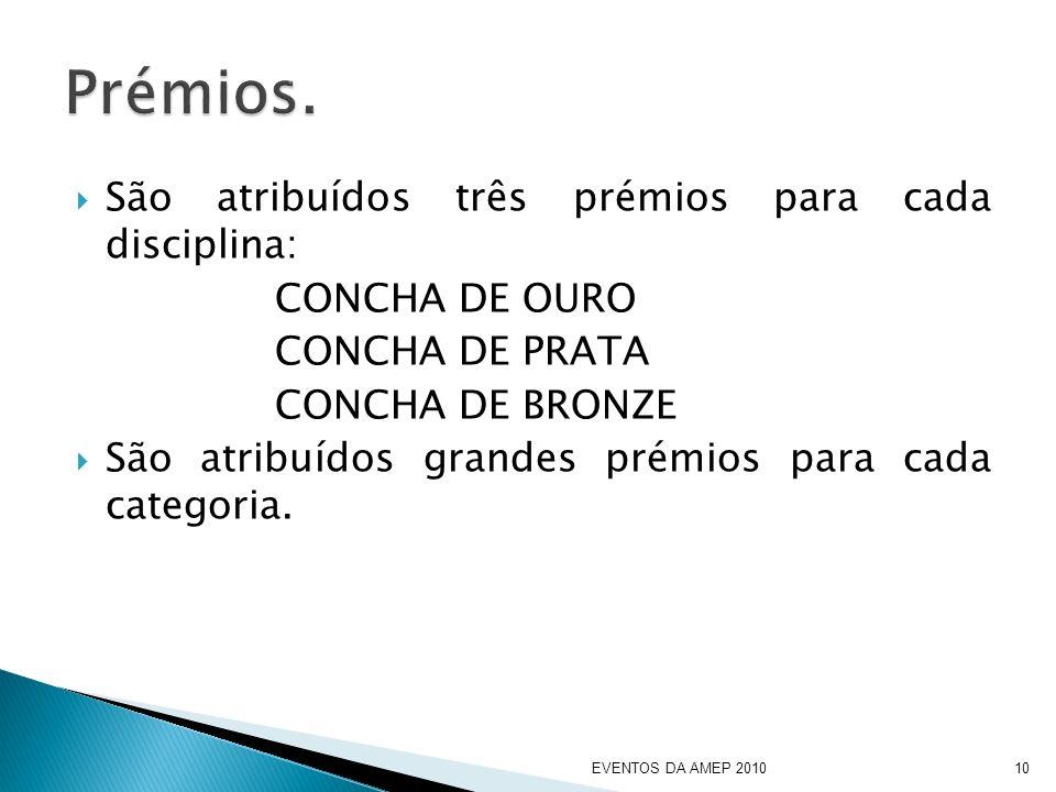 São atribuídos três prémios para cada disciplina: CONCHA DE OURO CONCHA DE PRATA CONCHA DE BRONZE São atribuídos grandes prémios para cada categoria.