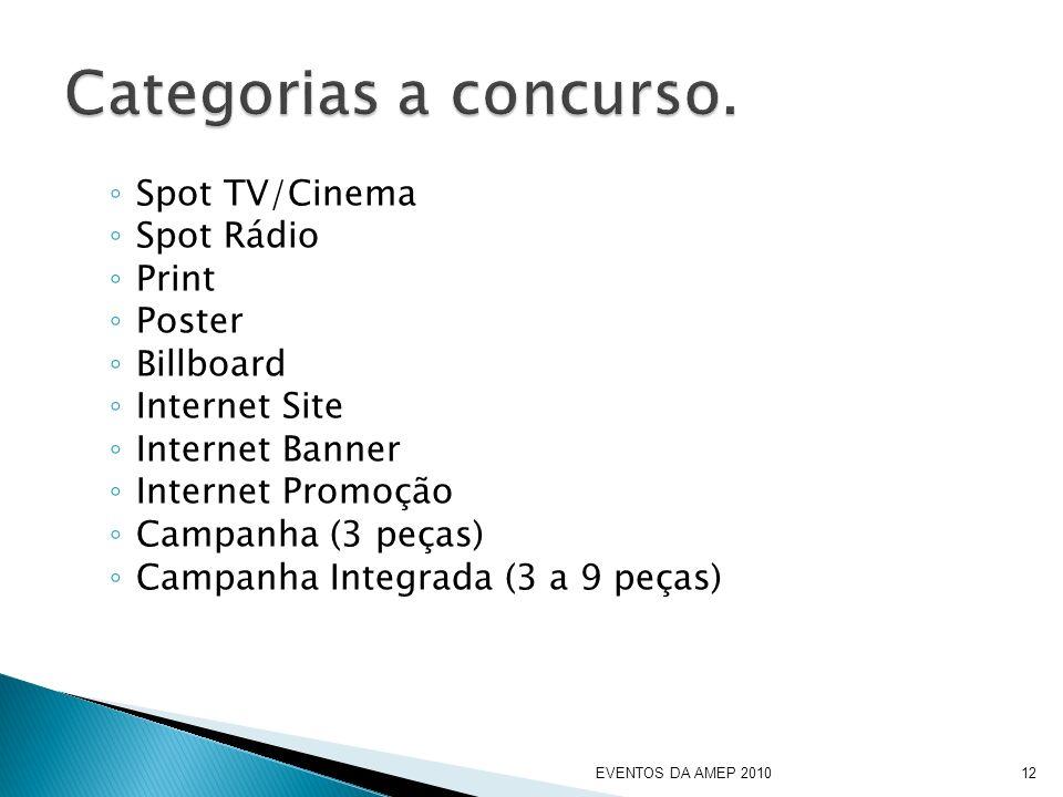 Spot TV/Cinema Spot Rádio Print Poster Billboard Internet Site Internet Banner Internet Promoção Campanha (3 peças) Campanha Integrada (3 a 9 peças) EVENTOS DA AMEP 201012