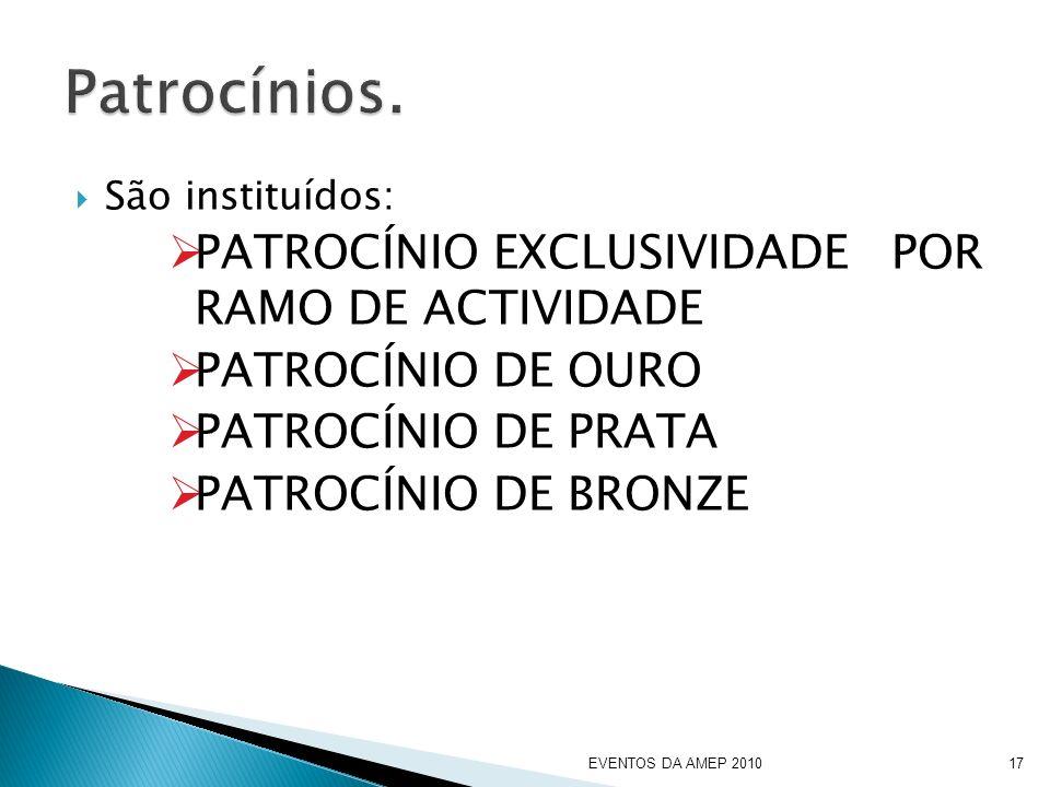 São instituídos: PATROCÍNIO EXCLUSIVIDADE POR RAMO DE ACTIVIDADE PATROCÍNIO DE OURO PATROCÍNIO DE PRATA PATROCÍNIO DE BRONZE EVENTOS DA AMEP 201017