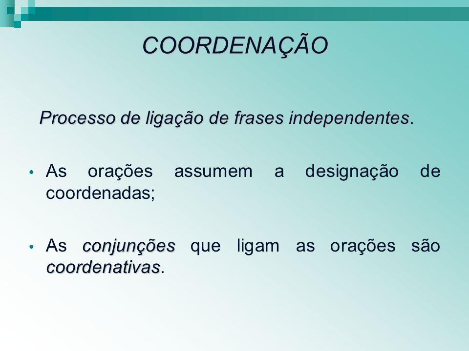 COORDENAÇÃO Processo de ligação de frases independentes Processo de ligação de frases independentes. As orações assumem a designação de coordenadas; c