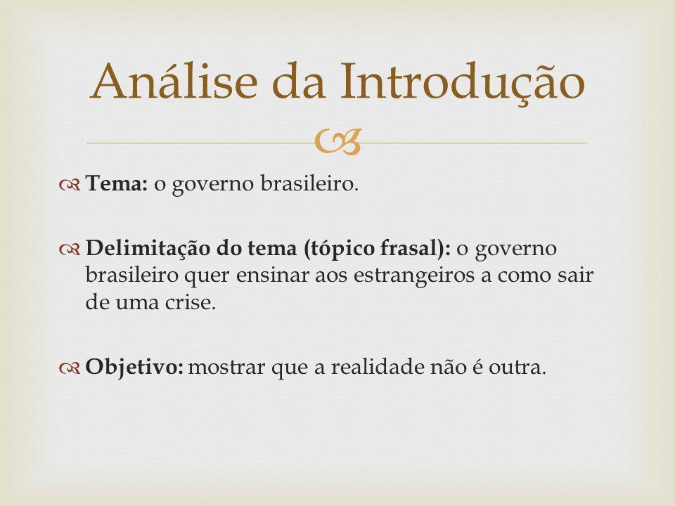 Tema: o governo brasileiro. Delimitação do tema (tópico frasal): o governo brasileiro quer ensinar aos estrangeiros a como sair de uma crise. Objetivo