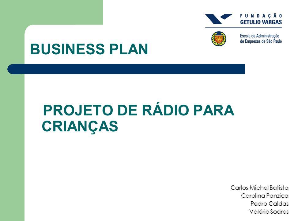 BUSINESS PLAN Carlos Michel Batista Carolina Panzica Pedro Caldas Valério Soares PROJETO DE RÁDIO PARA CRIANÇAS