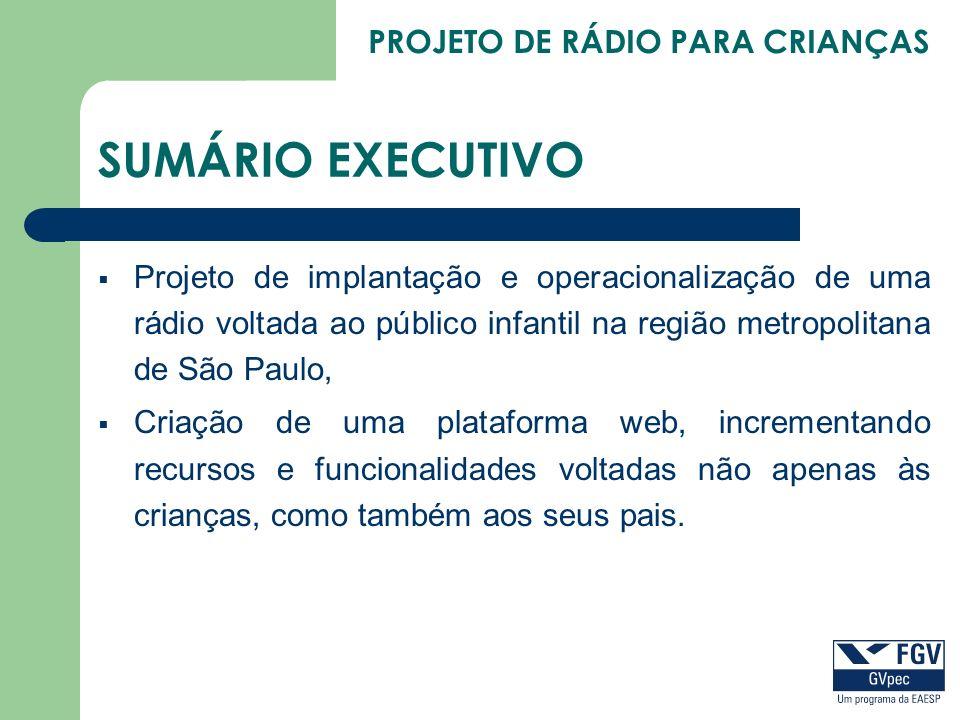 SUMÁRIO EXECUTIVO Projeto de implantação e operacionalização de uma rádio voltada ao público infantil na região metropolitana de São Paulo, Criação de