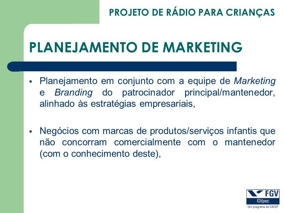 PROJETO DE RÁDIO PARA CRIANÇAS PLANEJAMENTO DE MARKETING Planejamento em conjunto com a equipe de Marketing e Branding do patrocinador principal/mante