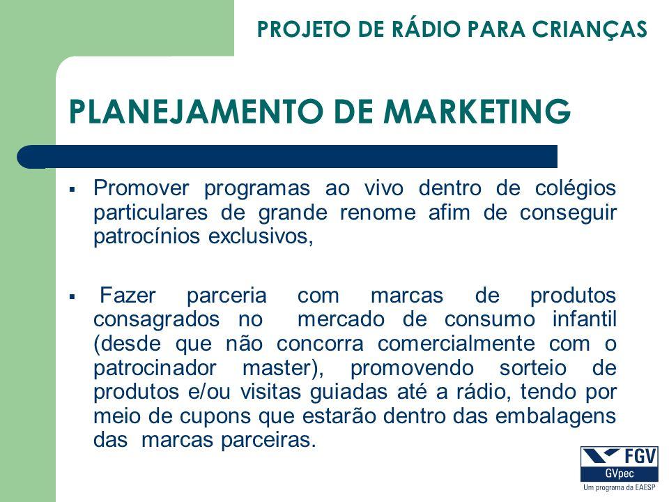 PROJETO DE RÁDIO PARA CRIANÇAS PLANEJAMENTO DE MARKETING Promover programas ao vivo dentro de colégios particulares de grande renome afim de conseguir