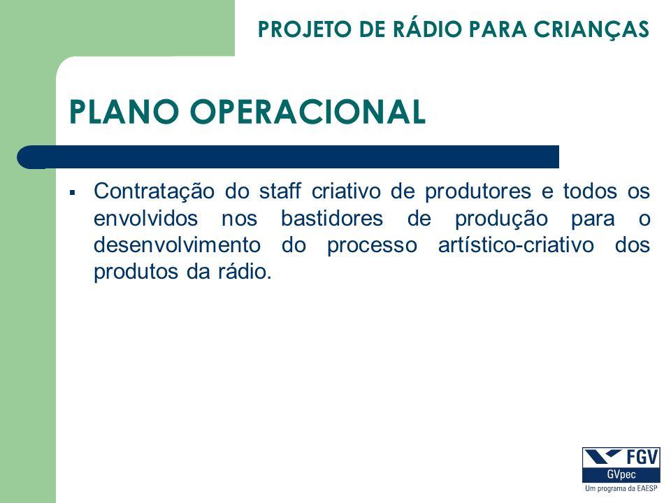 PROJETO DE RÁDIO PARA CRIANÇAS PLANO OPERACIONAL Contratação do staff criativo de produtores e todos os envolvidos nos bastidores de produção para o d