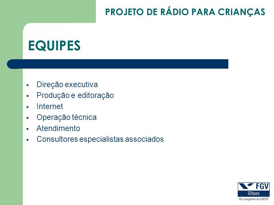PROJETO DE RÁDIO PARA CRIANÇAS EQUIPES Direção executiva Produção e editoração Internet Operação técnica Atendimento Consultores especialistas associa