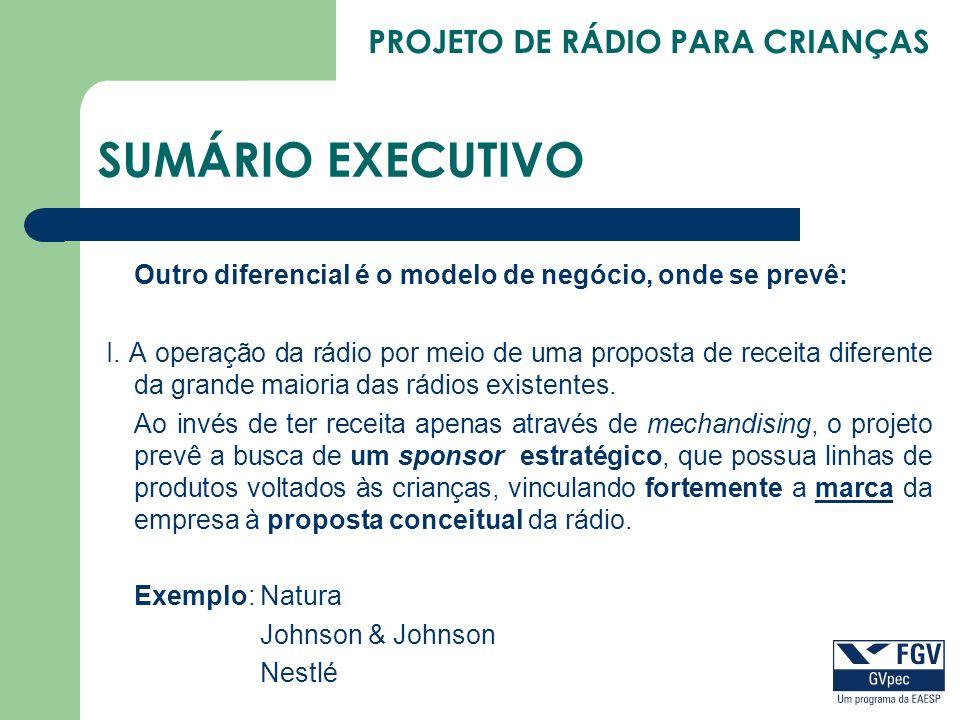 PROJETO DE RÁDIO PARA CRIANÇAS SUMÁRIO EXECUTIVO Outro diferencial é o modelo de negócio, onde se prevê: I. A operação da rádio por meio de uma propos