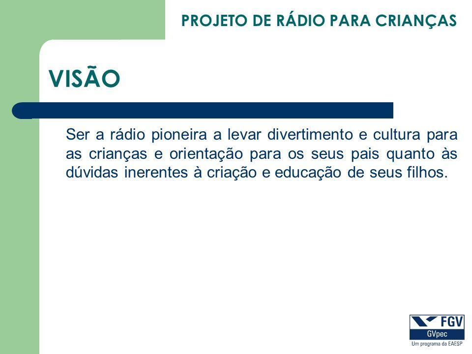 PROJETO DE RÁDIO PARA CRIANÇAS VISÃO Ser a rádio pioneira a levar divertimento e cultura para as crianças e orientação para os seus pais quanto às dúv