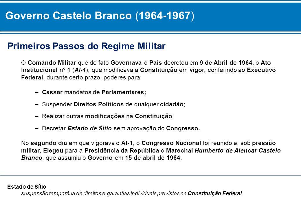 Primeiros Passos do Regime Militar O Comando Militar que de fato Governava o País decretou em 9 de Abril de 1964, o Ato Institucional n° 1 (AI-1), que