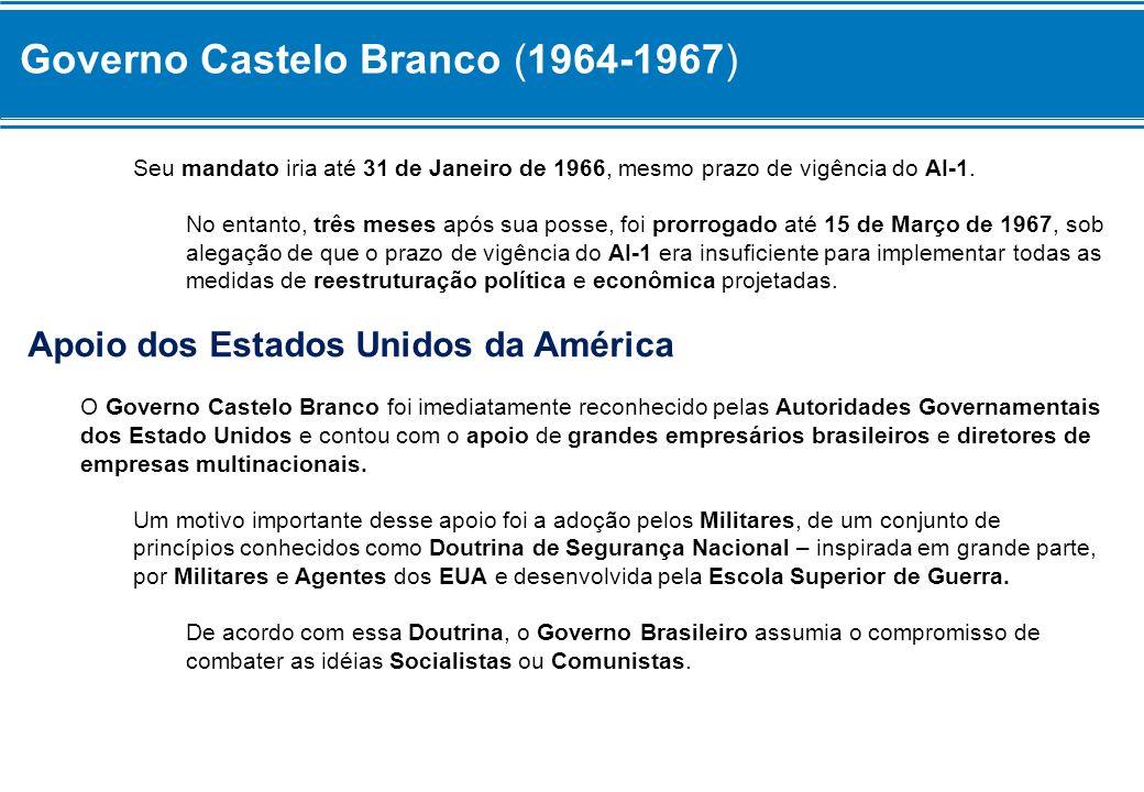 Governo Castelo Branco (1964-1967) Seu mandato iria até 31 de Janeiro de 1966, mesmo prazo de vigência do AI-1. No entanto, três meses após sua posse,