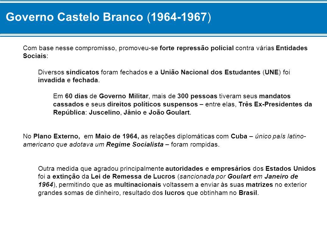 Governo Castelo Branco (1964-1967) Com base nesse compromisso, promoveu-se forte repressão policial contra várias Entidades Sociais: Diversos sindicat