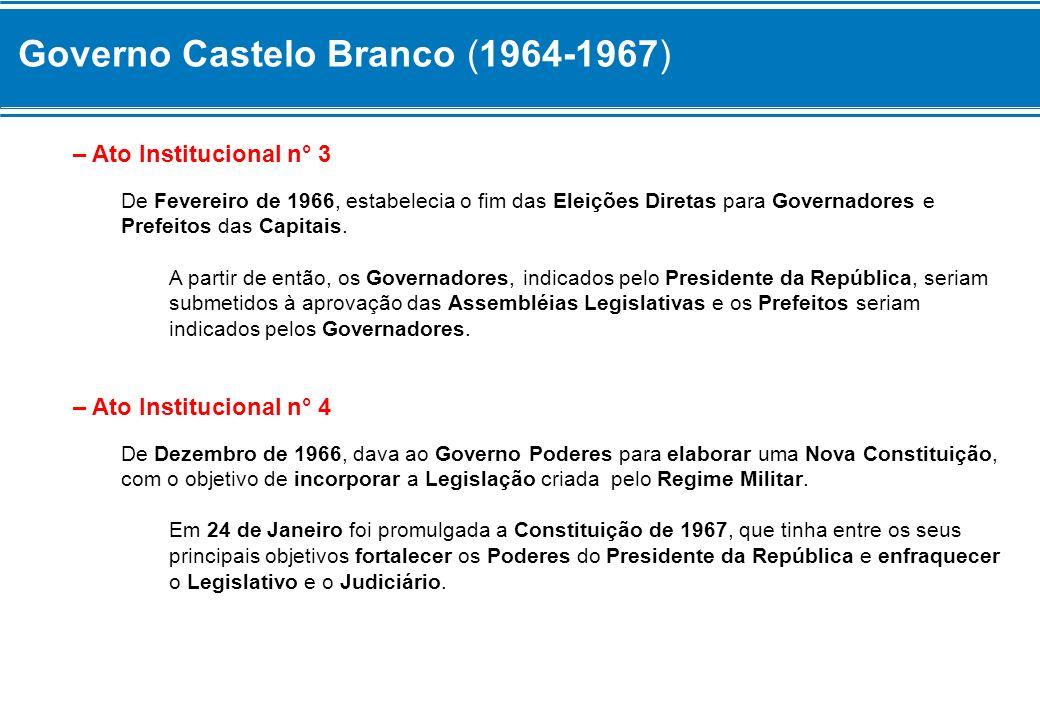Governo Castelo Branco (1964-1967) – Ato Institucional n° 3 De Fevereiro de 1966, estabelecia o fim das Eleições Diretas para Governadores e Prefeitos