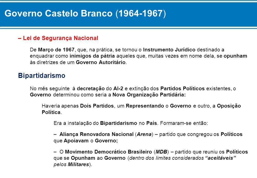 Governo Castelo Branco (1964-1967) – Lei de Segurança Nacional De Março de 1967, que, na prática, se tornou o Instrumento Jurídico destinado a enquadr
