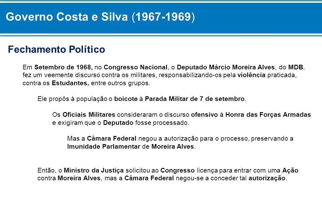 Governo Costa e Silva (1967-1969) Fechamento Político Em Setembro de 1968, no Congresso Nacional, o Deputado Márcio Moreira Alves, do MDB, fez um veem