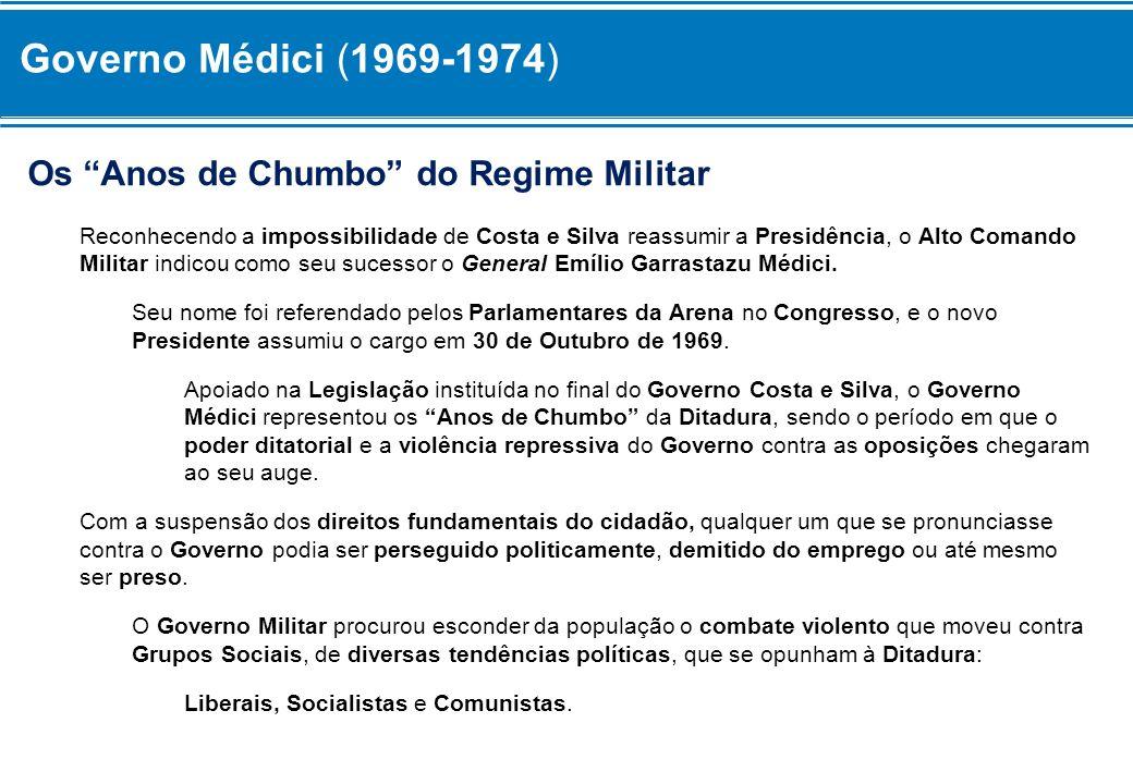 Os Anos de Chumbo do Regime Militar Reconhecendo a impossibilidade de Costa e Silva reassumir a Presidência, o Alto Comando Militar indicou como seu s