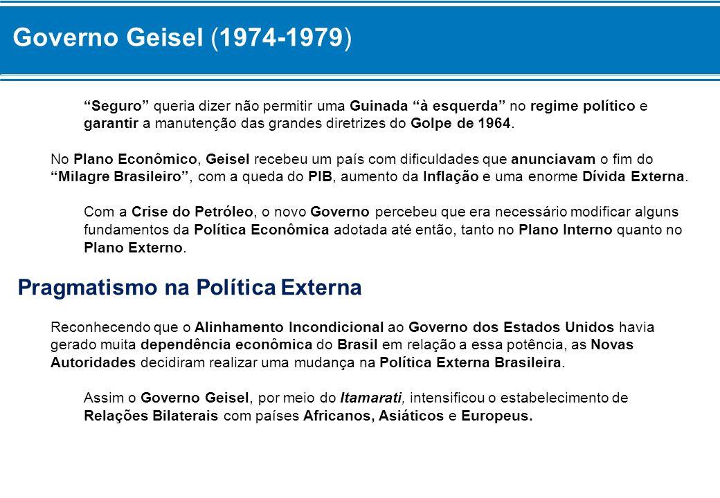 Governo Geisel (1974-1979) Seguro queria dizer não permitir uma Guinada à esquerda no regime político e garantir a manutenção das grandes diretrizes d